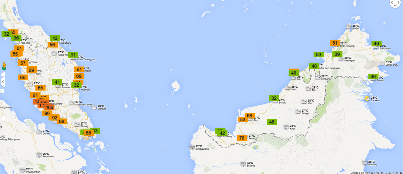 Malaysia air pollutant index on 10 March 2014