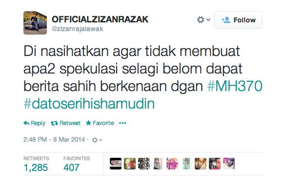 Zizan Razak on MH370.