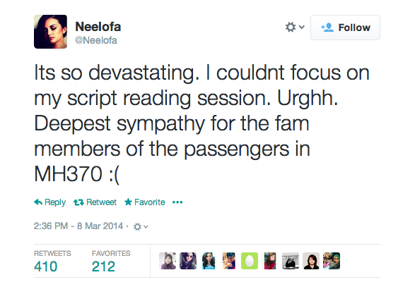 Neelofa on MH370.