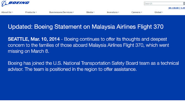 A statement from Boeing