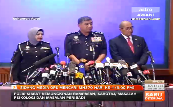 The IGP at the MH370 press conference, 3pm, 11 March 2014