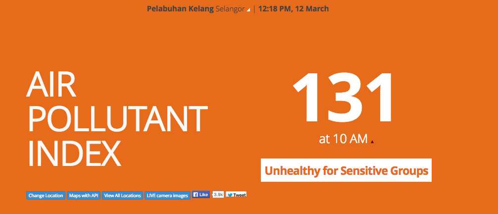 API index in Port Klang as of 12.10pm, 12 March 2014