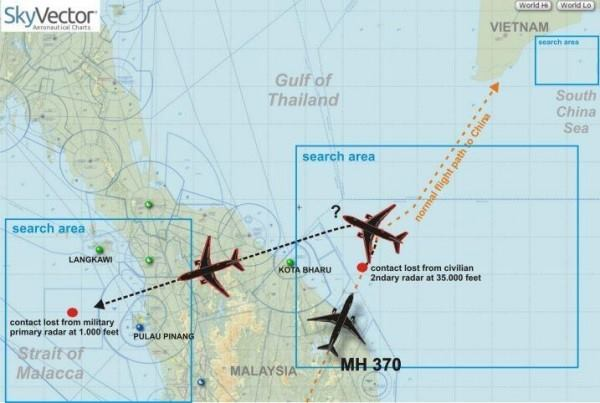 A chart of the possible flight path of the MH370