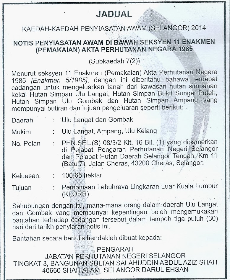 A notice announcing this appeared in the New Straits Times Classified Section on 14 February 2014