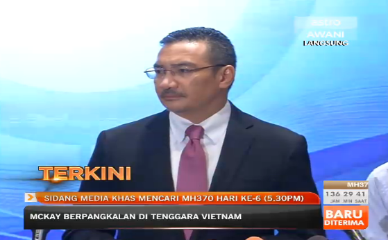 Acting Transport Minister Datuk Seri Hishammuddin Hussein on the MH370 press conference, 13 March