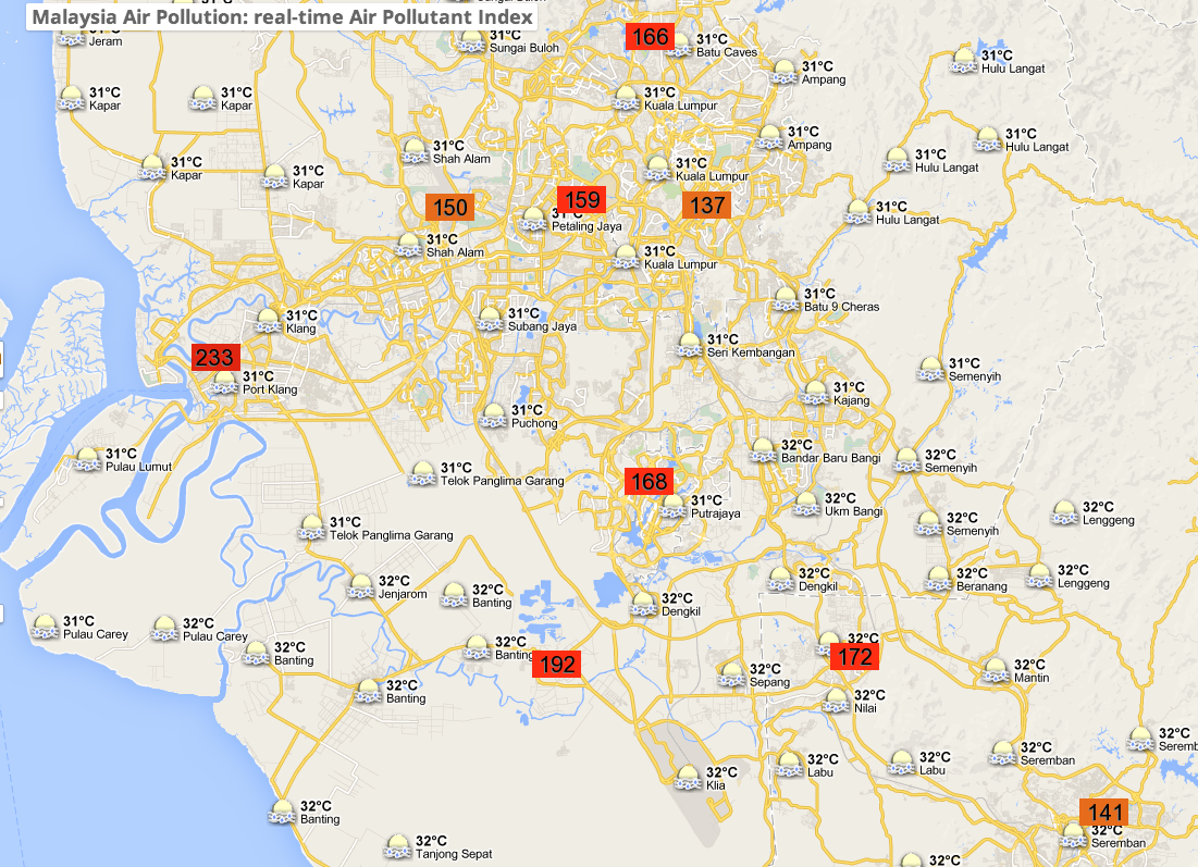 Locations in KL and Selangor with unhealthy API readings on 13 March 2014