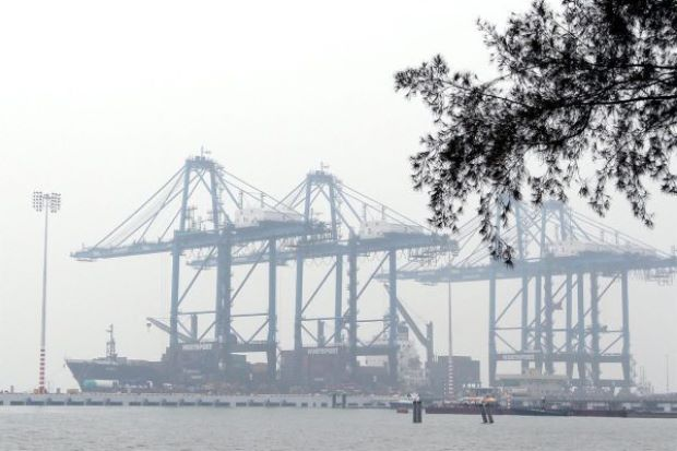 The haze situation in Port Klang on Thursday.
