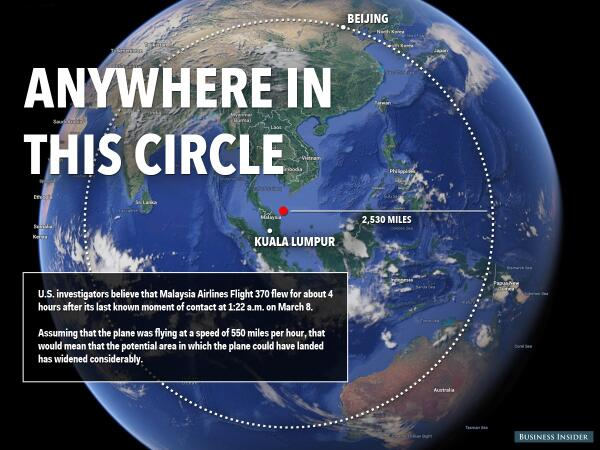 #MH370 could be anywhere in this huge circle
