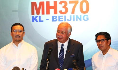 Prime Minister Najib Razak at the MH370 press conference on 15 March 2014