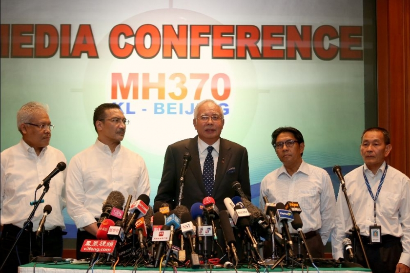 Prime Minister of Malaysia, Najib Tun Razak at the media conference one week after MH370 disappeared