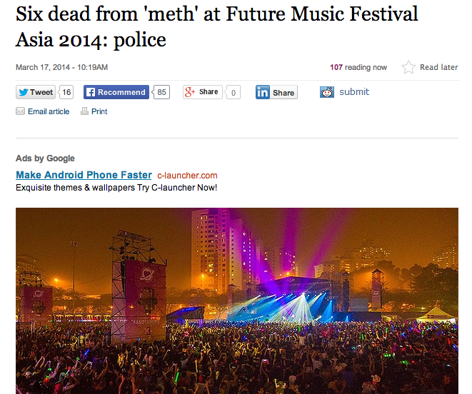 Sydney Morning Herald's article on the drug overdose in connection with Future Music Festival Asia.