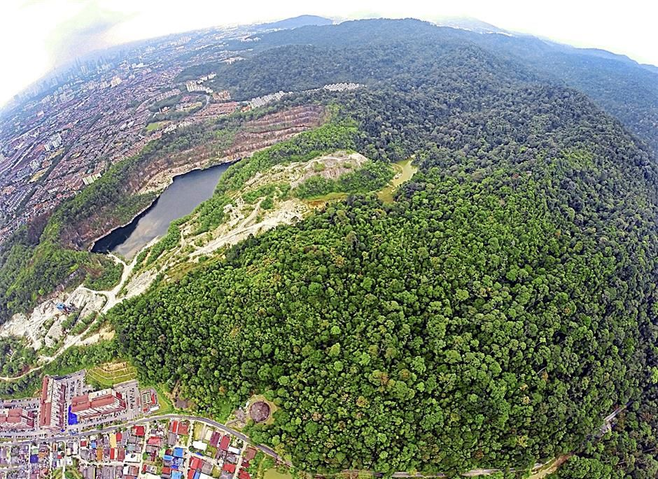 An aerial view of the Ampang Forest Reserve which forms one part of the Selangor State Park.
