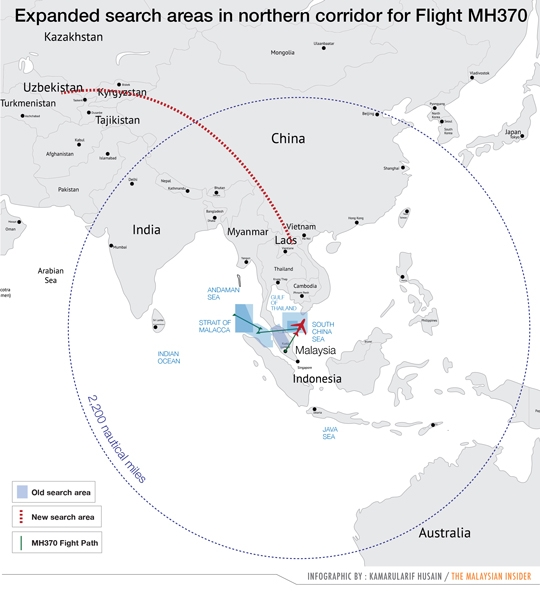 Kazakhstan and China are leading the search for MAS flight MH370 in the northern corridor.