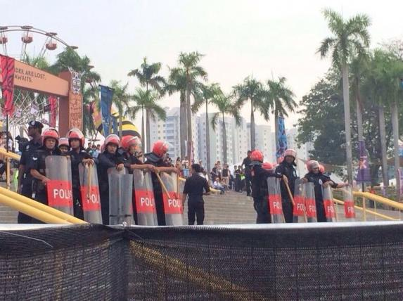 Police at the entrance of FMFA 2014.