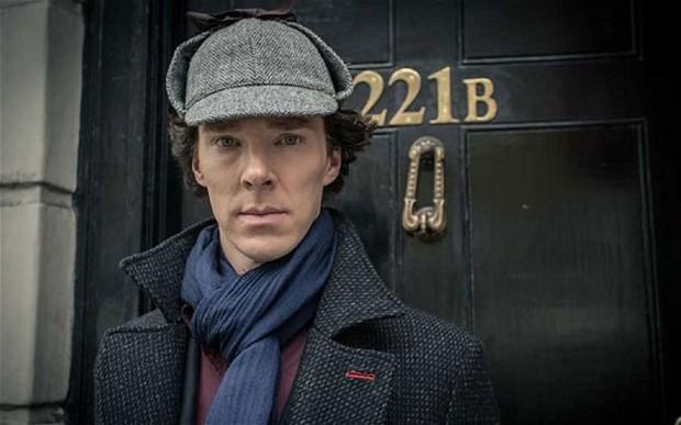"Benedict Cumberbatch as Sherlock Holmes in British television series ""Sherlock""."