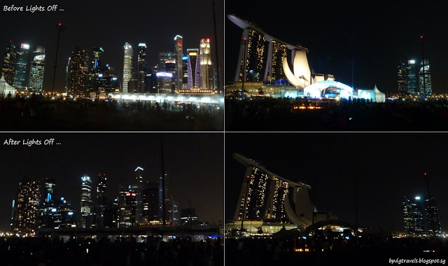 An image of Marina Bay Sands during Earth Hour.