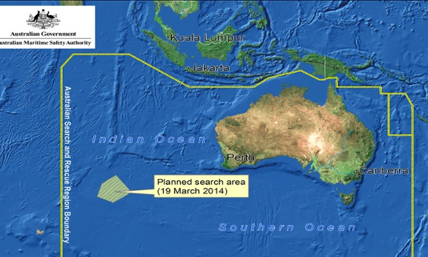Search area for the Australian search has been reduced to 300,000 square kilometres from 600,000 square kilometres