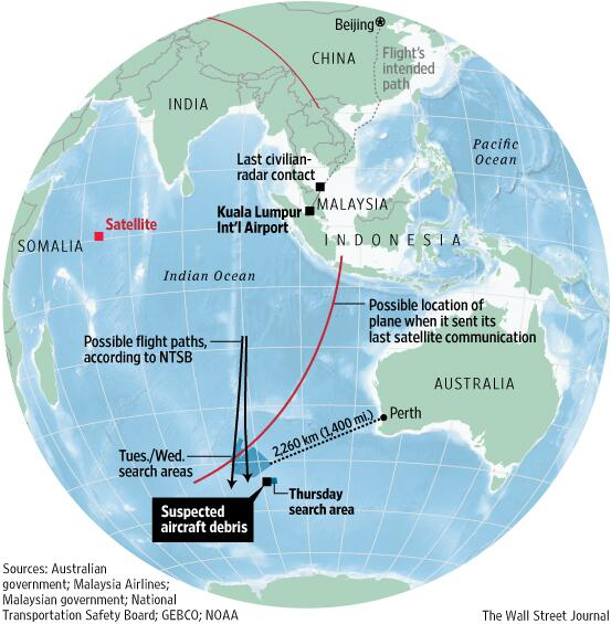 Search planes scour Indian Ocean 1,500 miles southwest of Australia for #MH370