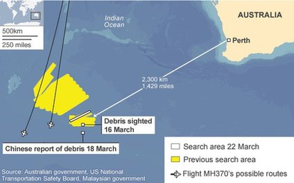 This map shows the search area after possible debris was spotted on satellite images of the Indian Ocean