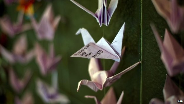 Origami cranes, containing prayers and messages for those on flight MH370, in Bangsar, Malaysia