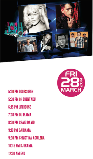 Friday 28 March schedule for Twin Towers Alive 2014.