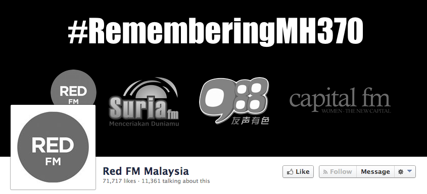 Radio stations in Malaysia remembering MH370