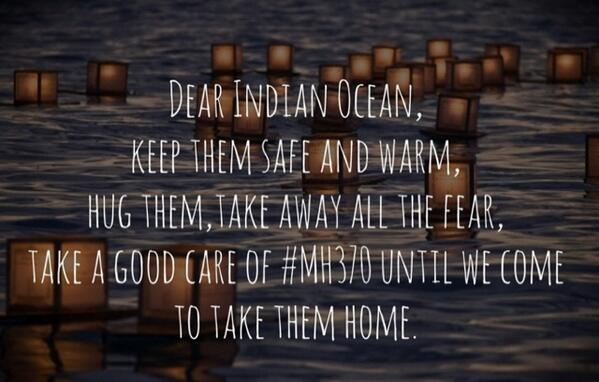 Message directed at the Indian Ocean in relation to MH370. Image via @kajaykay/Twitter