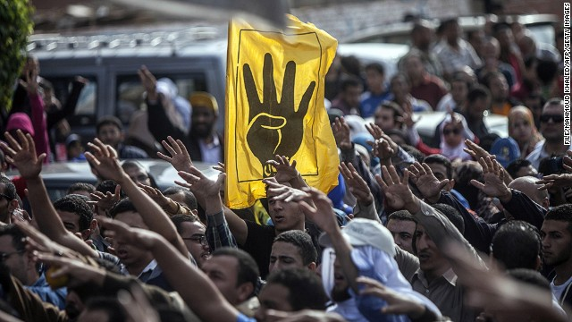 The yellow 4-fingered salute for the Muslim Brotherhood.