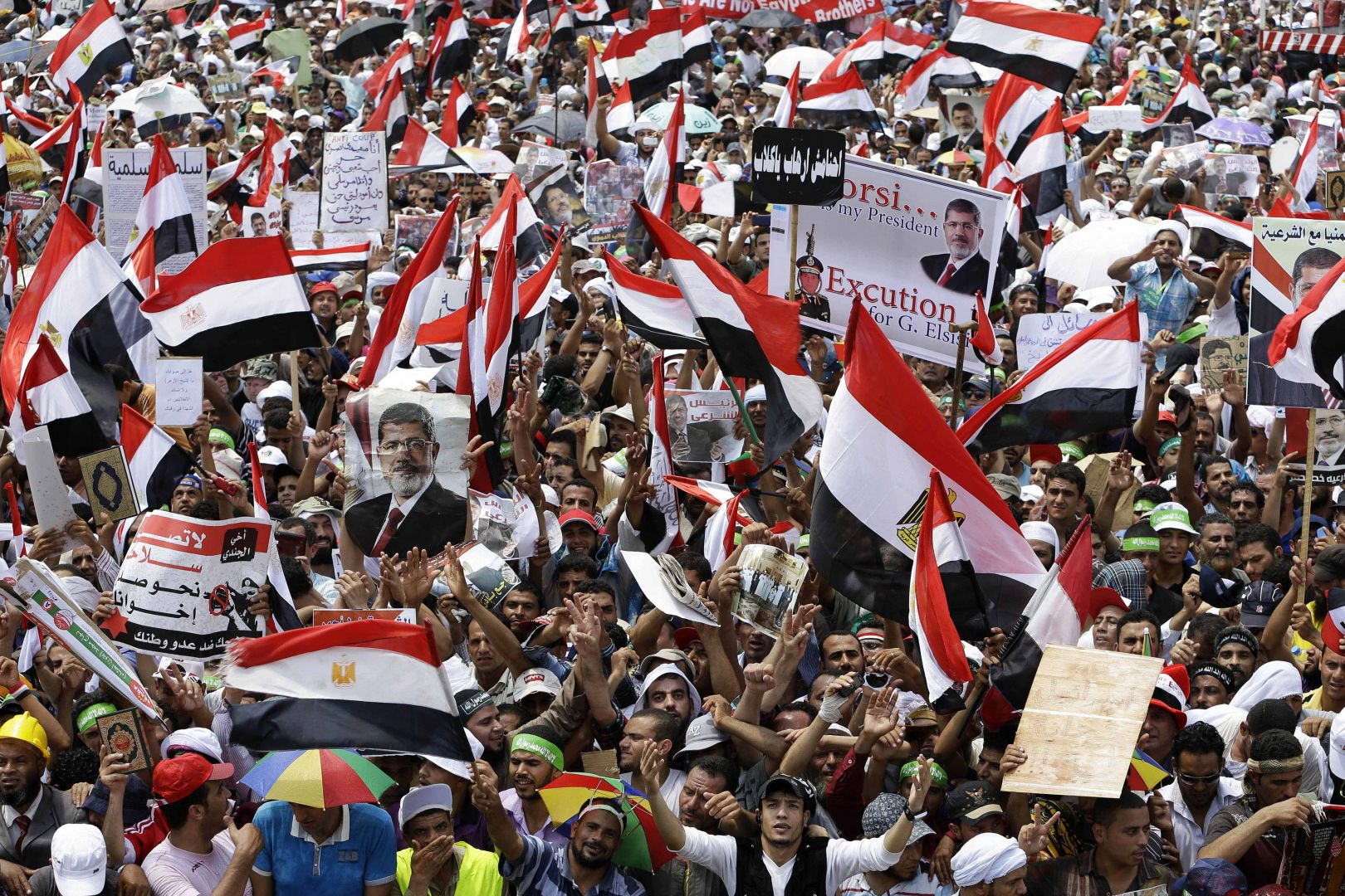Supporters of Egypt's ousted President Mohammed Morsi wave their national flags during a demonstration at Nasr City.