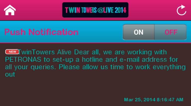 Twin Towers Alive 2014 message via mobile app.