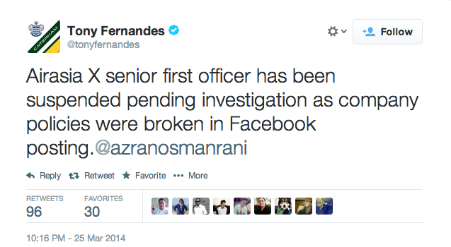 Tony Fernandes announced suspension of AirAsia X senior first officer via Twitter.