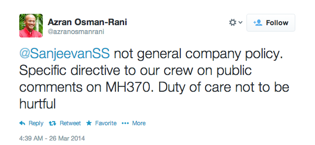 Azran Osman-Rani on specific directive to AirAsia X crew.