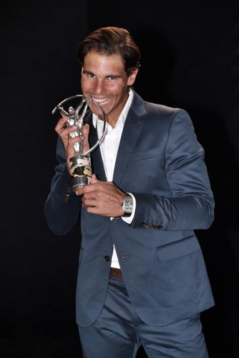Rafael Nadal winner of the Laureus World Comeback of the Year award poses with their trophy announced at the 2014 Laureus World Sports Awards at the Istana Budaya Theatre on March 26, 2014 in Kuala Lumpur, Malaysia.