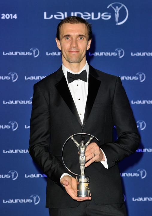 BMX cyclist Jamie Bestwick winner of the Laureus World Action Sportsperson of the Year award poses with their trophy at the winners photo call during the 2014 Laureus World Sports Awards at the Istana Budaya Theatre on March 26, 2014 in Kuala Lumpur, Malaysia.