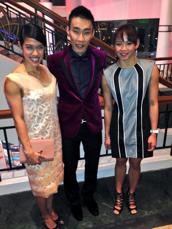 Nicol David, Lee Chong Wei and Pandelela Rinong at the 2014 Laureus World Sports Awards.