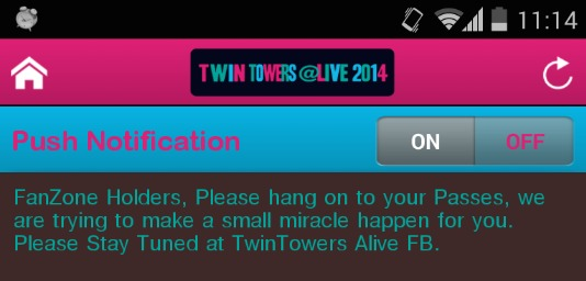 "Twin Towers Alive announced on 26 March 2014 that they are trying to make a ""small miracle happen""."