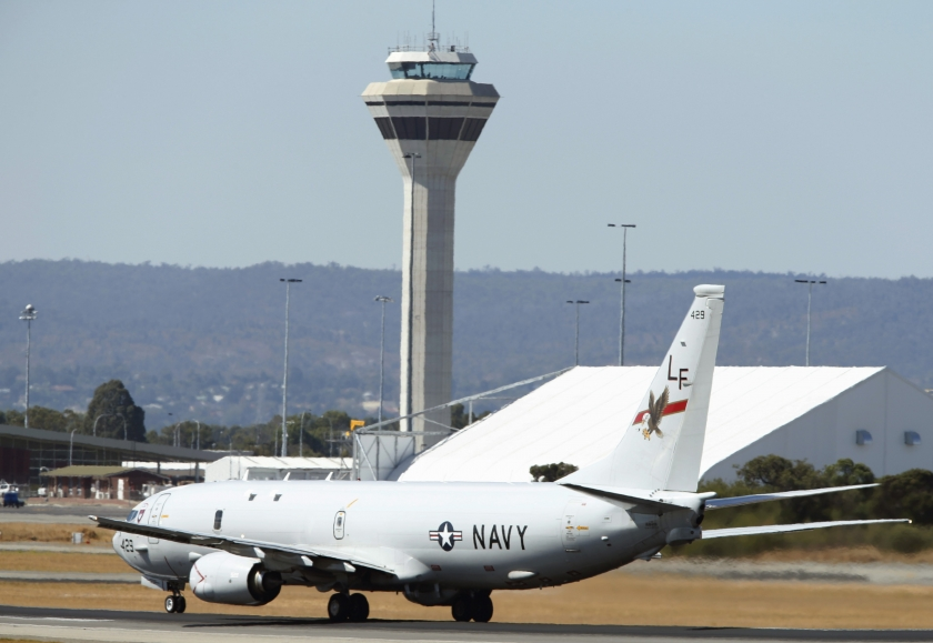 A US Navy Poseidon P8 maritime surveillance aircraft takes off from Perth International Airport to join the search for the missing MAS flight MH370, March 28, 2014