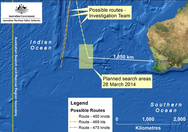The Australian Maritime Safety Authority announced the search area for missing flight MH370 has shifted closer to the Western Australian Coast after receiving radar analysis suggesting the airliner did not travel as far south as originally thought