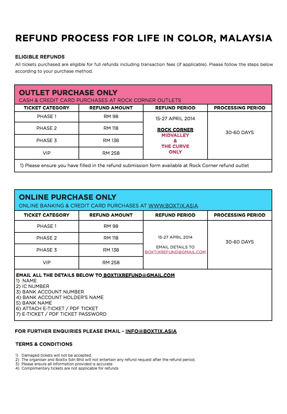 Life In Color refund details from Boxtix.asia.