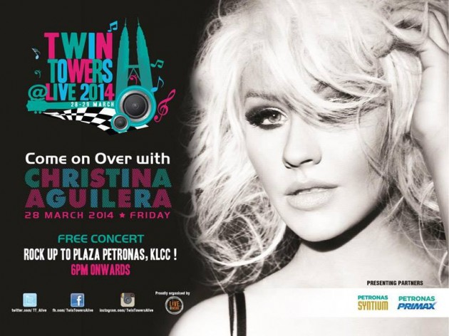Christina Aguilera was originally scheduled to perform at the Twin Towers Alive 2014 concert in Kuala Lumpur on 28 and 29 March 2014.