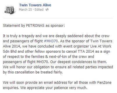 An official statement from the main sponsor, Petronas regarding the cancellation of the event.