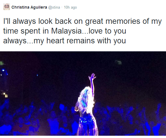 A tweet from Christina Aguilera on 31 March 2014.