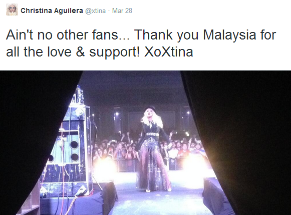 A tweet from Christina Aguilera on 28 March just after the concert.