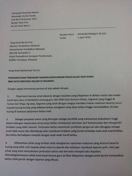 Surat rasmi mengenai penganiayaan haiwan dihantar kepada Kementerian Pendidikan Malaysia.