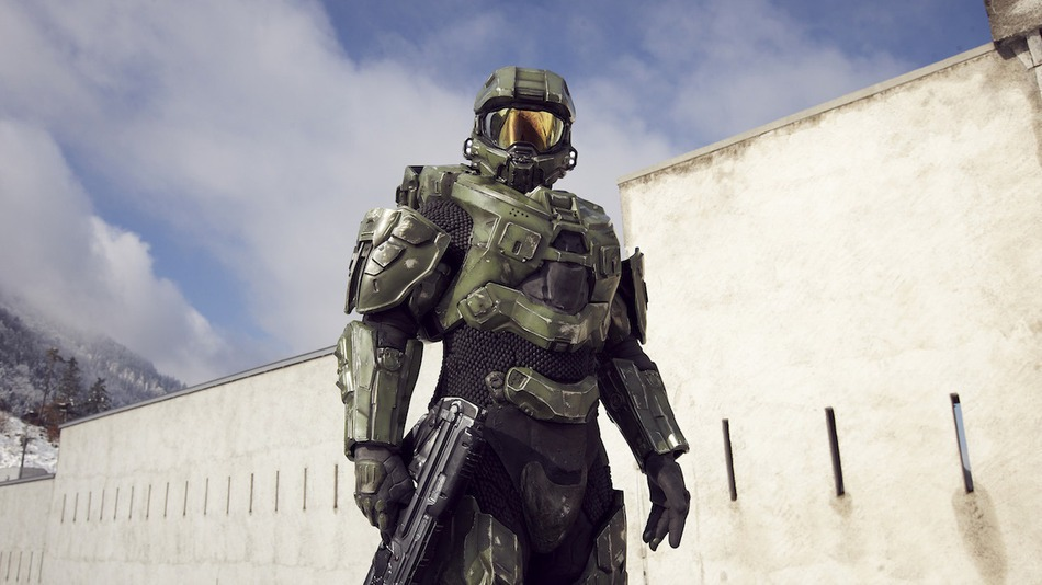 Master Chief stands guard during the HALO 4 launch by Xbox 360 on October 29, 2012 in Balzers, Liechtenstein.