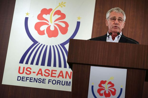 US Secretary of Defense Chuck Hagel speaks during the closing news conference for a meeting of defense ministers from the Association of Southeast Asian Nations (ASEAN) April 3, 2014 in Honolulu, Hawaii.