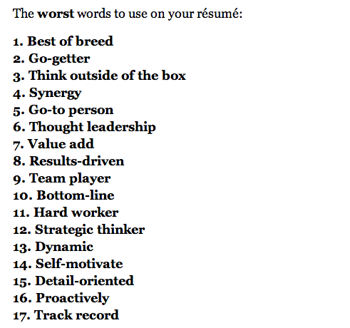 17 worst words to use in your résumé