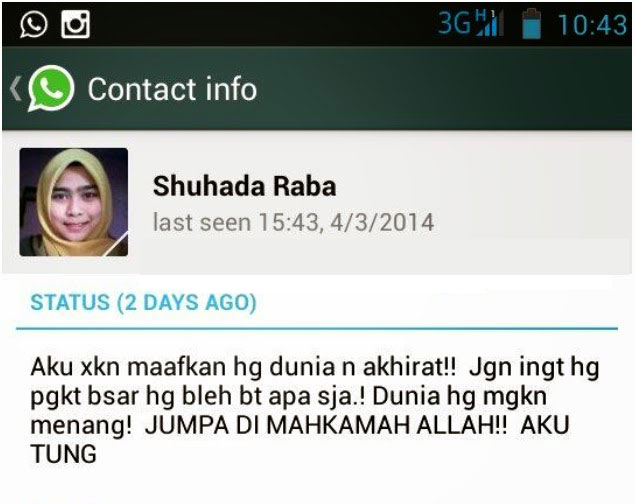 Luahan Nur Shuhada Shahadan melalui aplikasi Whatsapp.