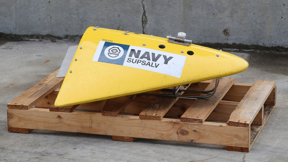 A Towed Pinger Locator (TPL), used to detect black box recorders, sits on the wharf at naval base HMAS Stirling in Perth, Australia, ready to be fitted to the Australian warship Ocean Shield to aid in the search for missing Malaysia Airlines Flight MH370