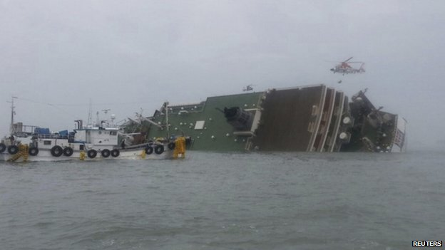 The distress signal was received from the ferry, identified as the Sewol, around 9 AM (local time)